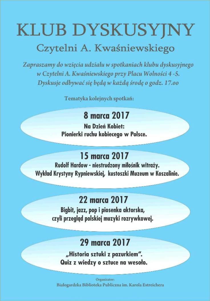 Klub dyskusyjny 8-29 marca 2017