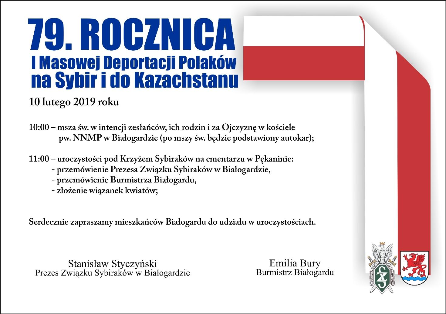 79. rocznica I Masowej Deportacji Polaków na Sybir i do Kazachstanu, Miasto Białogard