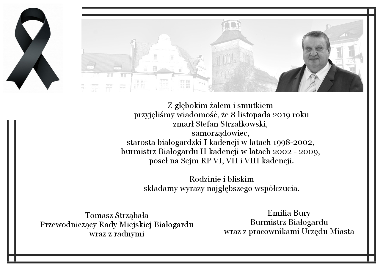Nie żyje Stefan Strzałkowski. Kondolencje, Miasto Białogard