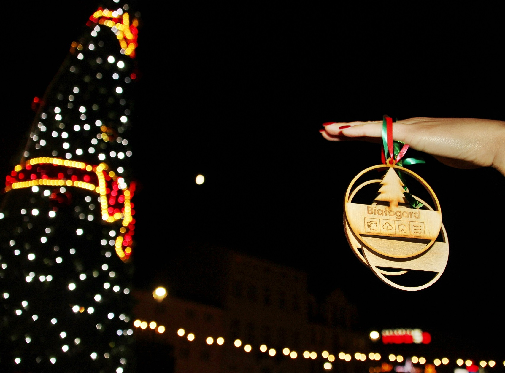 Rozświetliła się miejska choinka, Miasto Białogard